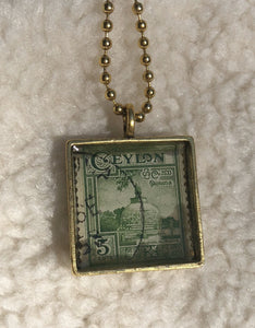 Vintage Stamp Pendant Necklace - Sri Lanka Ceylon