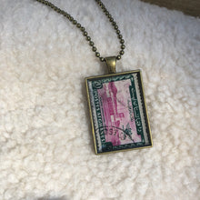Vintage Stamp Pendant Necklace - Afghanistan International Aiport