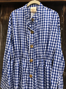 Gingham Shirt Dress - Blue & White