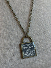 Vintage Stamp Pendant Necklace - Denmark