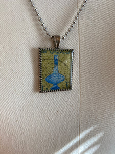 Vintage Stamp Pendant Necklace - Egypt Antiquities Vase