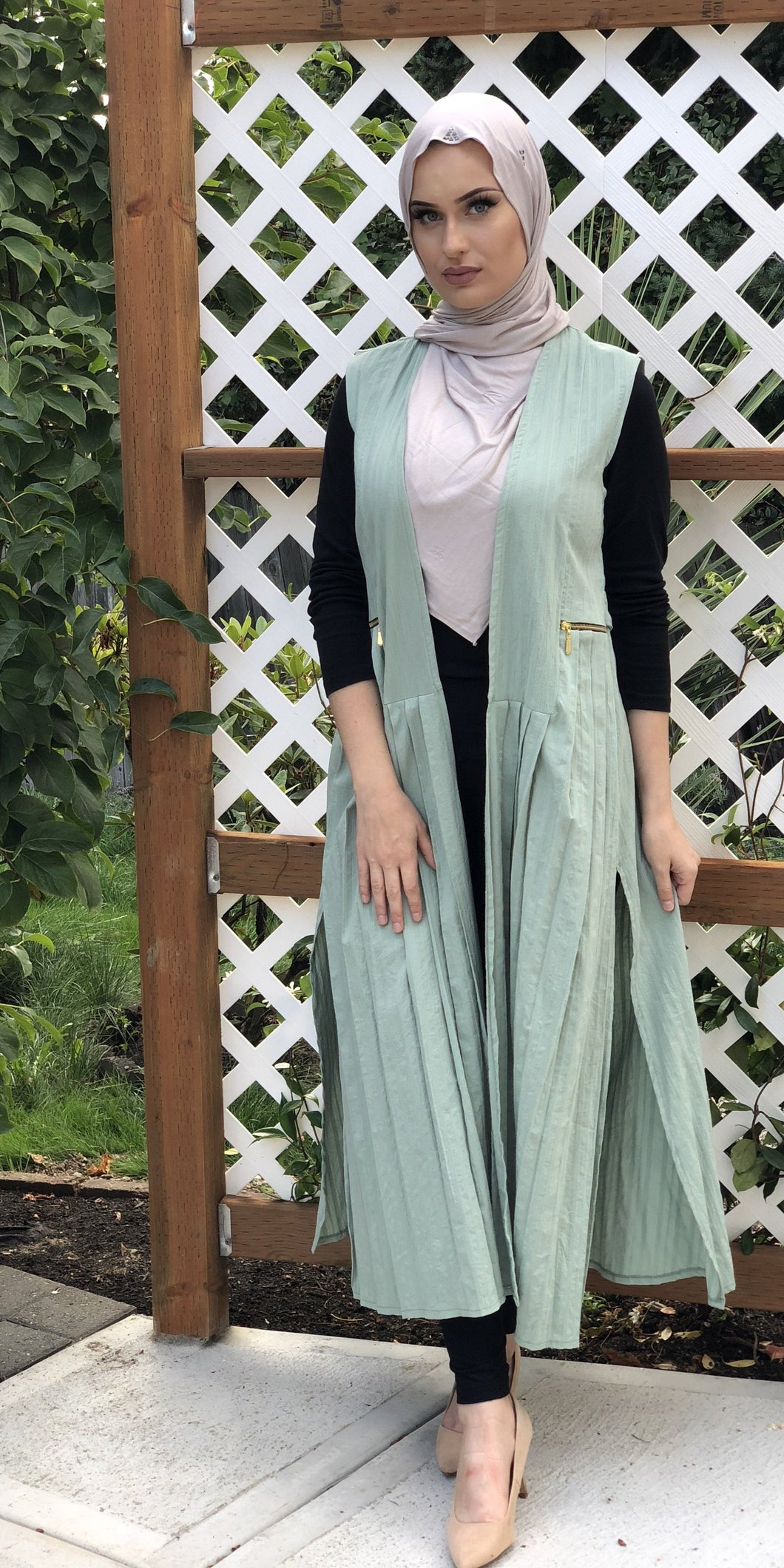 Long Pleated Cotton Vest - Mint