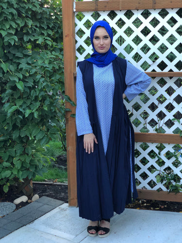 Long Pleated Cotton Vest - Navy