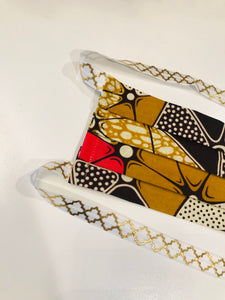 NEW! Hijabi Friendly Face Mask - Orange & Brown Floral African Ankara