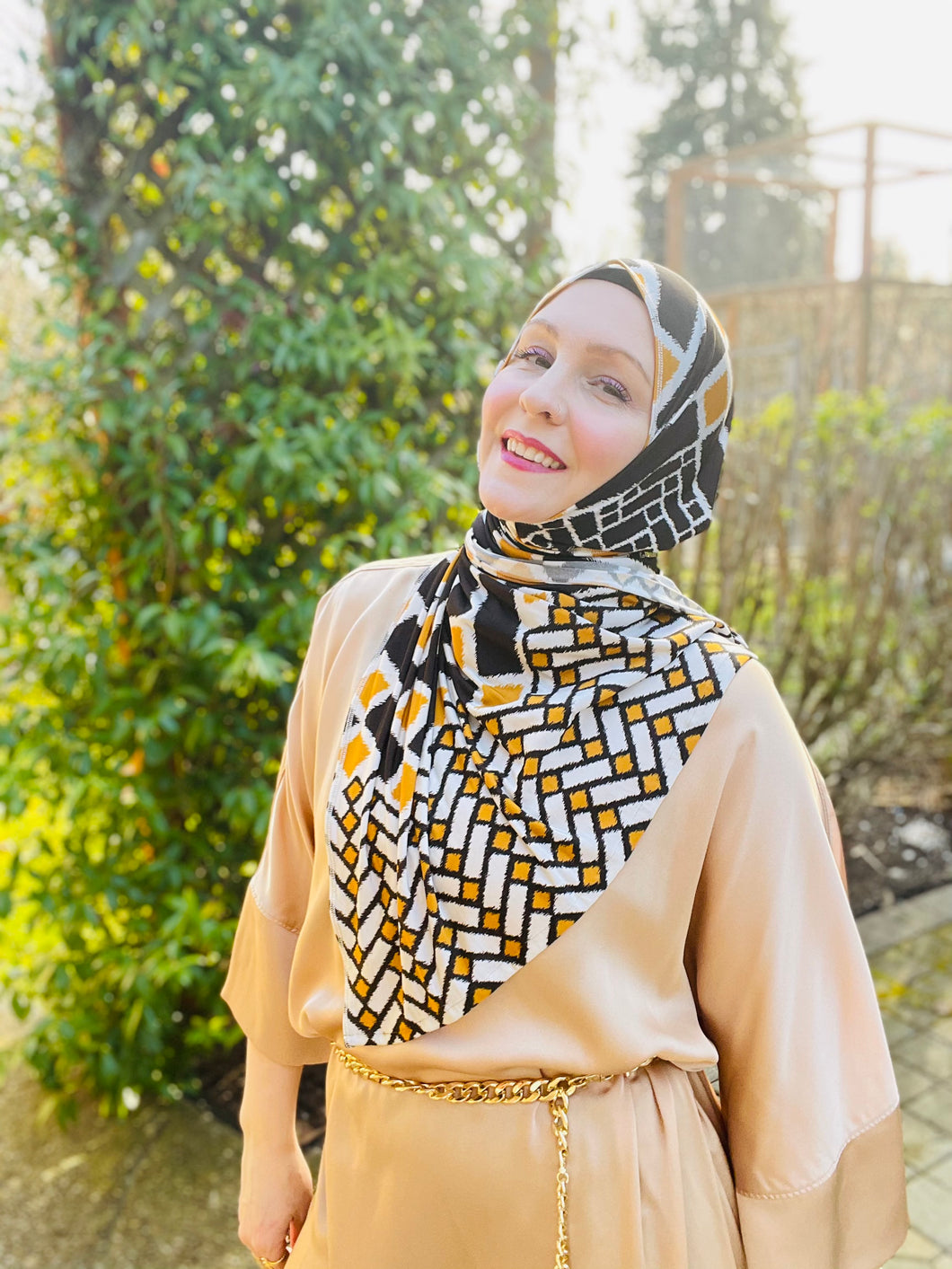 Active Lycra Jersey Hijab - Limited Edition: Slip On - Italian Geometric