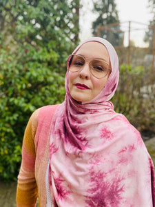 Limited Edition Printed Jersey Hijab: Rose Splash French Terry