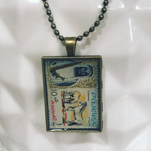 Vintage Stamp Pendant Necklace - UAE Horse