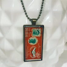 Vintage Stamp Pendant Necklace - UAE Dubai