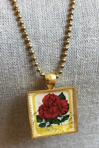 Vintage Stamp Pendant Necklace - New Zealand Rose