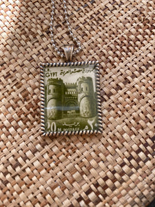 Vintage Stamp Pendant Necklace - Egypt Temple Antiquities