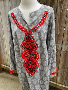 Summer Cotton Embellished Caftan - Grey Pomegranates - M