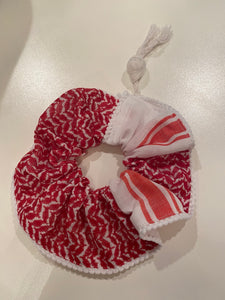 JUMBO Scrunchie - Kuffiya Red & White