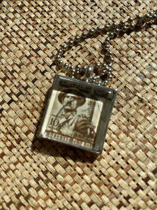 "Vintage Stamp Pendant Necklace - Egypt ""Defense"""
