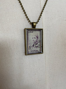 Vintage Stamp Pendant Necklace - Morocco
