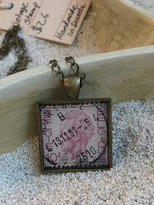 Vintage Stamp Pendant Necklace - Belgium