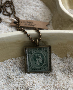Vintage Stamp Pendant Necklace - Jamaica Green