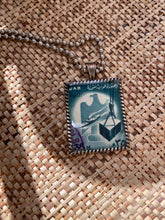 Vintage Stamp Pendant Necklace - Egypt Blue Bird (UAR)