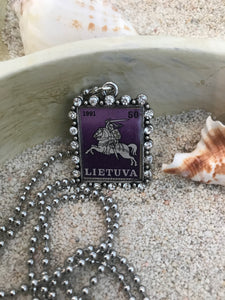 Vintage Stamp Pendant Necklace - Lithuania Lietuva
