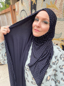 Limited Edition Printed Jersey Hijab: Italian Dark Navy Mini Polka Dots