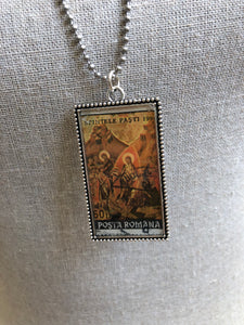 Vintage Stamp Pendant Necklace - Romania