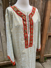 Summer Cotton Embellished Caftan - Gold & Grey Metallic - L