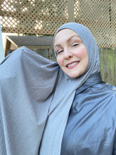 Limited Edition Jersey Hijab: Grey Ribbed Solid