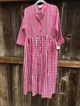 Gingham Shirt Dress - Red & White