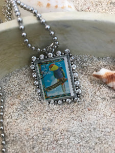 Vintage Stamp Pendant Necklace - UAE One Parrot