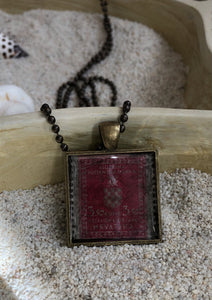 Vintage Stamp Pendant Necklace - Croatia