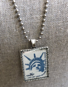 Vintage Stamp Pendant Necklace - USA Lady Liberty