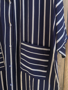 Striped Shirt Dress - Navy