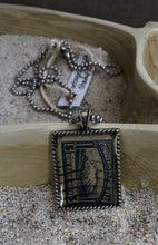 Vintage Stamp Pendant Necklace - Bolivia Mountain