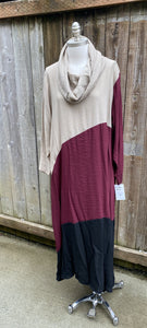 Cowl Neck Color Block Tunic Dress - two colors!