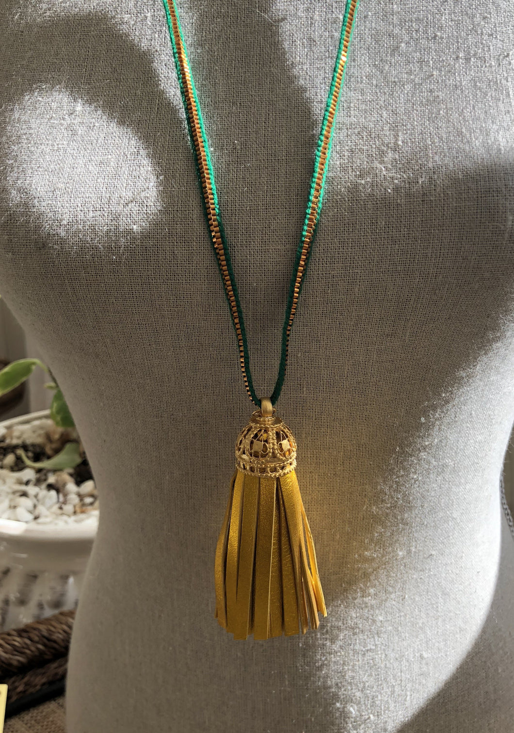 Leather Tassel Necklace - Verde & Gold