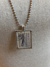 Vintage Stamp Pendant Necklace - Romania Airplane