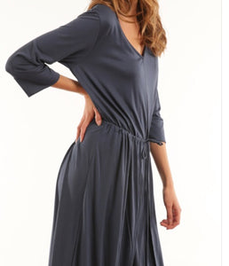 V-neck Wrap Midi Dress