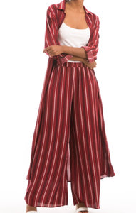 Striped Long Shirt Dress - Crimson