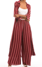 Striped Long Shirt Dress - Burgundy
