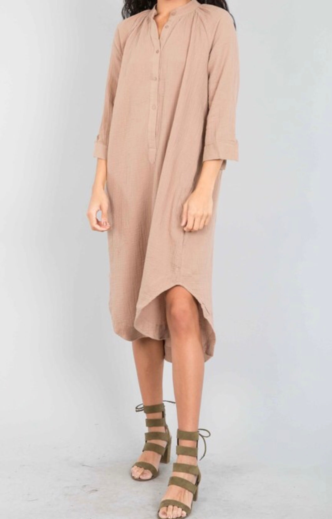Raglan Tunic Shirt Dress - Camel