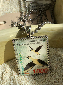 Vintage Stamp Pendant Necklace - Indonesia Birds