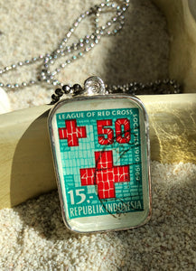 Vintage Stamp Pendant Necklace - Indonesia Red Cross