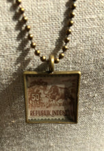 Vintage Stamp Pendant Necklace - Indonesia Bull