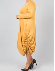 Side Tie Adjustable Dress - Canary