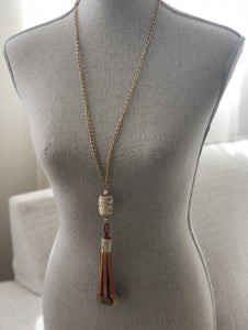 Skull Leather Tassel Necklace - Belly Dance Coins