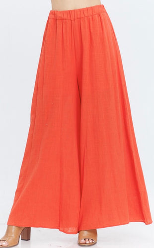 Relaxed High Waisted Palazzos - Fuego