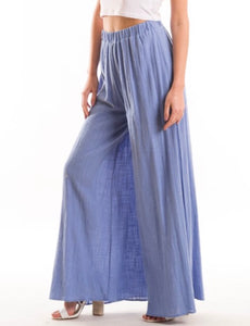 Relaxed High Waisted Palazzos - Periwinkle