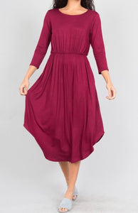 Stretch Jersey Tunic Dress - Crimson