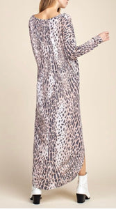 Leopard Print Long Tunic Dress