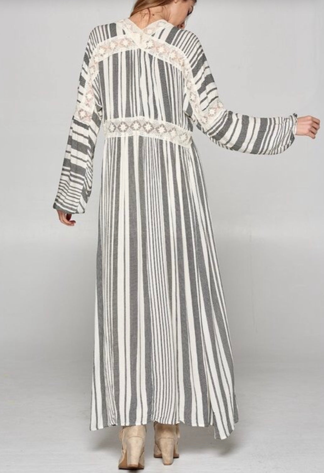 NEW! Striped Maxi Cardi Open Abaya