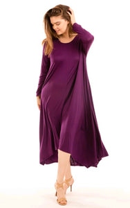 Jersey Flare Dress - Verde or Plum